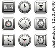 vector clock and time symbols - stock vector