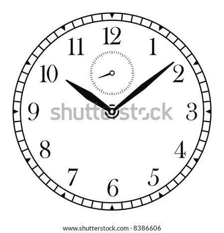 vector clock face and hands - stock vector
