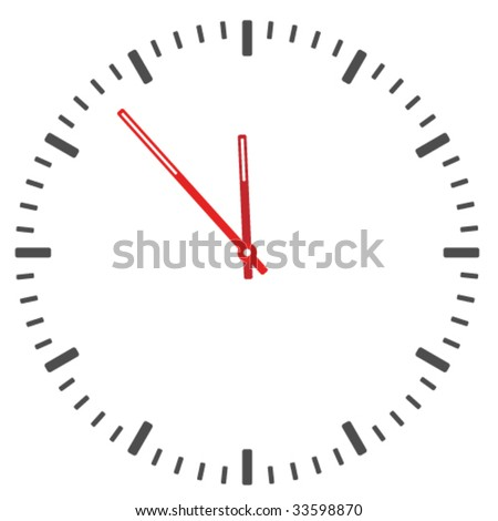 vector clock face - easy change time - stock vector