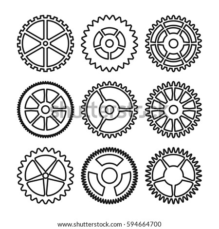 Vector Clock Gears Outline Icons Set 594664700 on engine white background