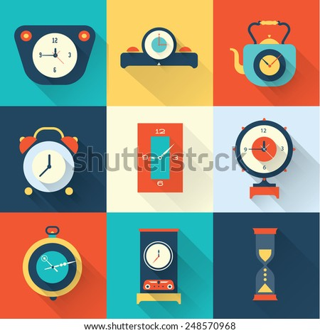 Vector clock icon flat style - stock vector