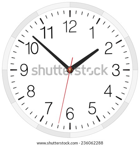 Vector clock placed on white - stock vector