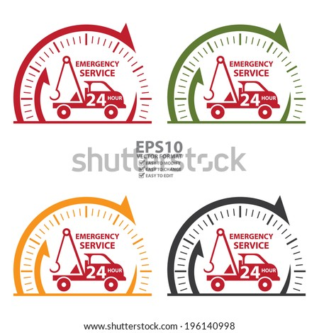 Vector : Clock Sign and Emergency Service 24Hour Tow Car Icon, Badge, Label or Sticker Isolated on White Background  - stock vector