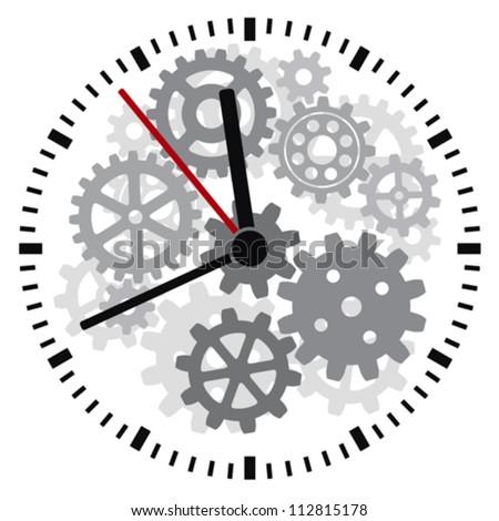 vector clock (timer, clockwork) - stock vector
