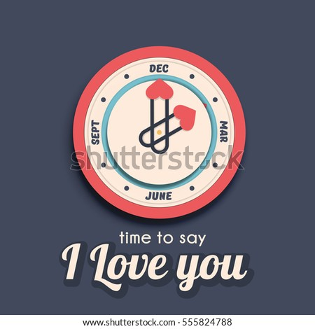 Vector clock with calendar deal. Time to say I love you, a valentine's day concept