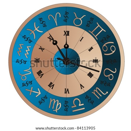 Vector clock zodiac/ Image of the astronomical clock - vector