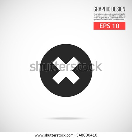 Vector close icon. Cross black icon. Modern flat design vector illustration, quality concept for web banners, web and mobile applications, infographics. Vector icon isolated on gradient background - stock vector