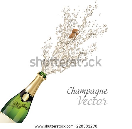 Vector close-up of Champagne explosion - stock vector