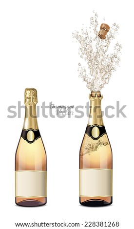 Vector closed and explosion bottles of champagne - stock vector