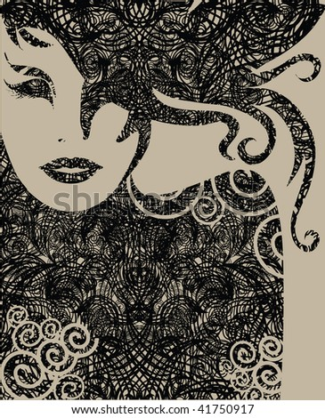 "Vector closeup Decorative grunge portrait of woman with long hair (From my big ""Vintage woman collection "") - stock vector"