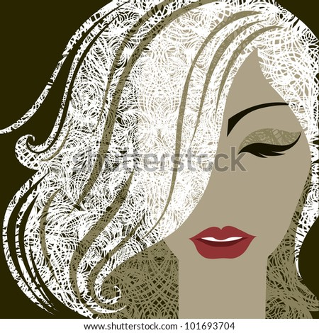 Vector closeup decorative portrait of woman with make-up and blond long hair - stock vector