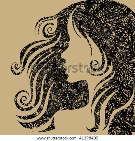 """Vector closeup grunge portrait of woman with long hair (From my big """"Vintage woman collection """") - stock vector"""