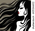 """Vector closeup portrait of a girl with beautiful hair (from my big """"Vintage girl collection"""") - stock vector"""