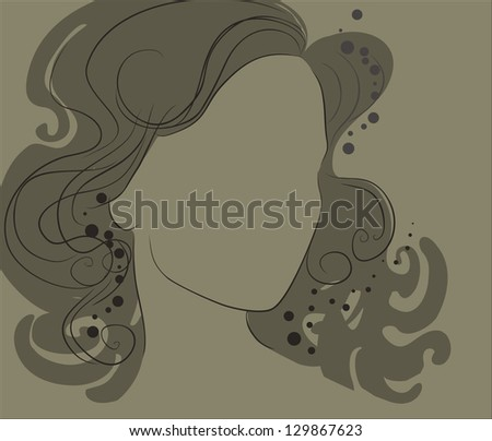 "Vector closeup portrait of a girl with beautiful hair in ornate dress (from my big ""Vintage girl collection"")"