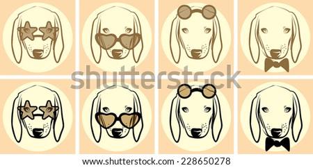 Vector closeup set of dog portrait - stock vector