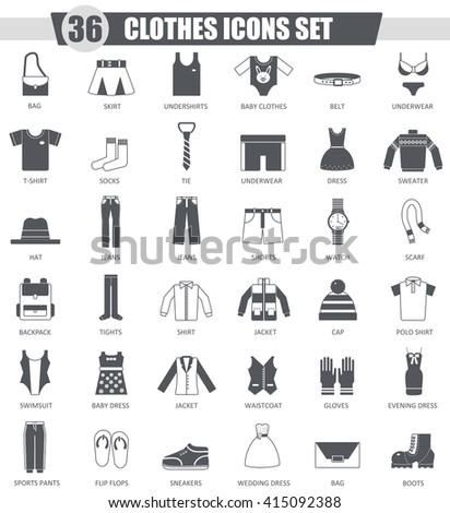 Vector clothes black icon set. Dark grey classic icon design for web. Clothes black icons set, Clothes black icons collection, Clothes black icons image, Clothes black icons isolated, Clothes icons - stock vector