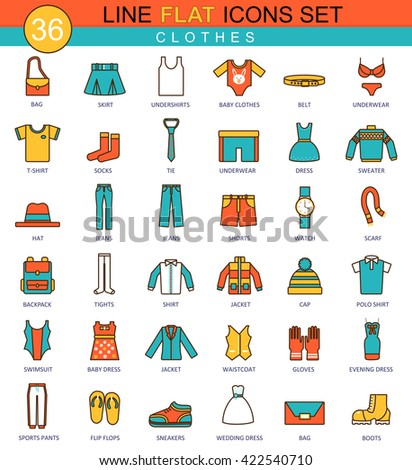 Vector Clothes flat line icon set. Modern elegant style design for web. Clothes icons set, Clothes icons collection, Clothes flat line icons, Clothes icons for online store, Clothes icons concept - stock vector