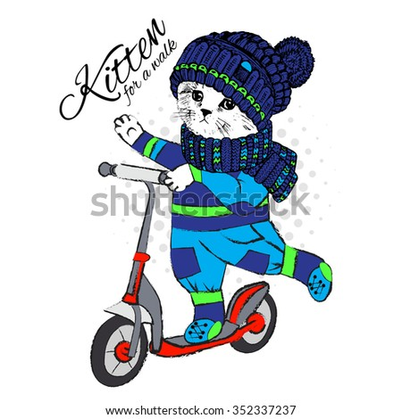 Vector  clothing cat with scooter. Entertainment cat boy. Kitten on a walk.