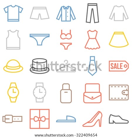 Vector clothing icons set, thin line - stock vector