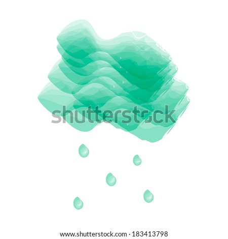 Vector cloud and rain drops in watercolor style - stock vector