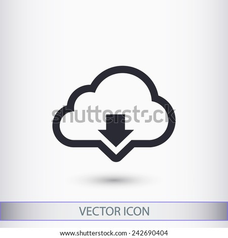 Vector cloud computing download icon, vector illustration. Flat design style - stock vector