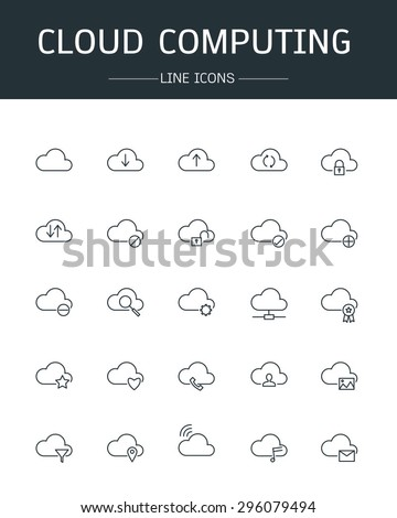 vector cloud computing icons line style - stock vector
