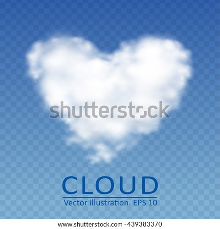 Vector cloud in the form of heart on a transparent blue sky. Vector collection 3. - stock vector