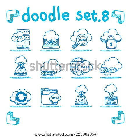 vector cloud network icon set doodle style - stock vector