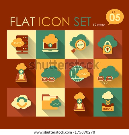 vector cloud network icon set flat design - stock vector