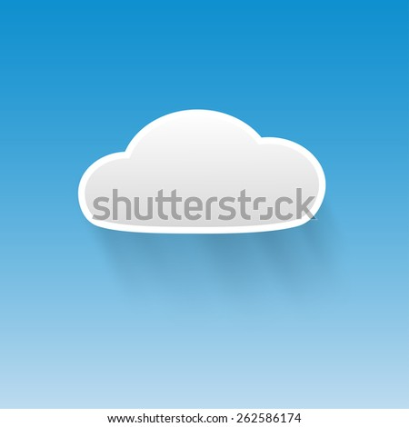 Vector cloud on blue background - stock vector
