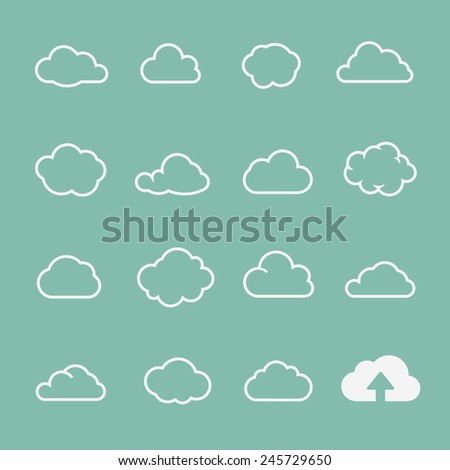 vector cloud shapes set, cloud icons for cloud computing  for web and app design - stock vector