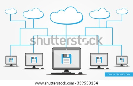 Vector Cloud Technology illustration with links between computers and clouds.