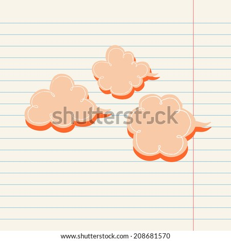 vector cloud template on lined paper stock vector 208681570