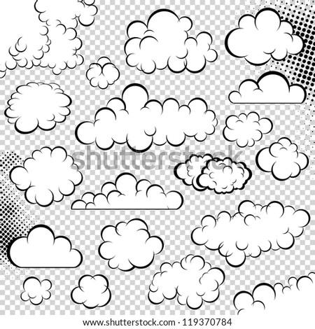 Vector clouds collection. Speech bubble. Cartoon book. - stock vector
