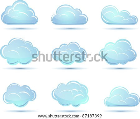 Vector clouds collection. Weathe icon for design. - stock vector