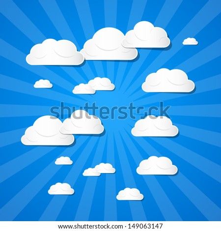 Vector Clouds on Blue Background