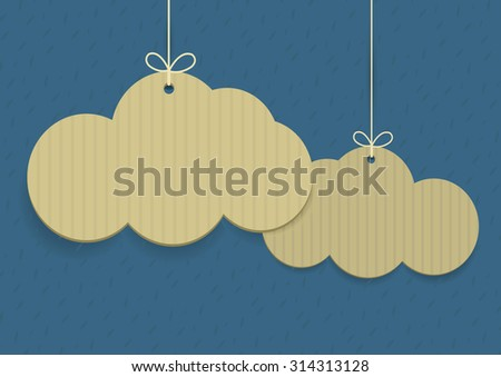 Vector clouds shaped shopping tags on textured background  - stock vector