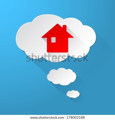 Vector Clouds with Real Estate icon - stock vector