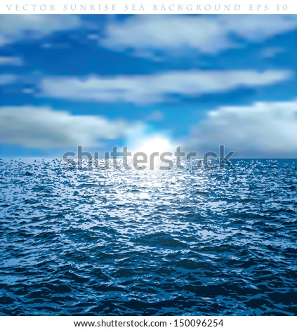 vector cloudy background with sunrise over the ocean - stock vector