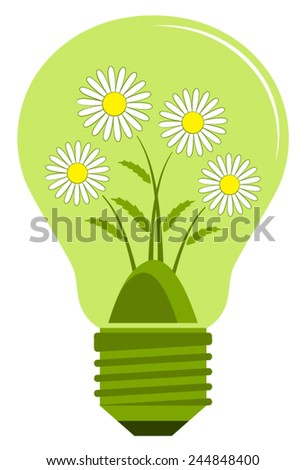 vector clump of daisies in light bulb isolated on white background - stock vector