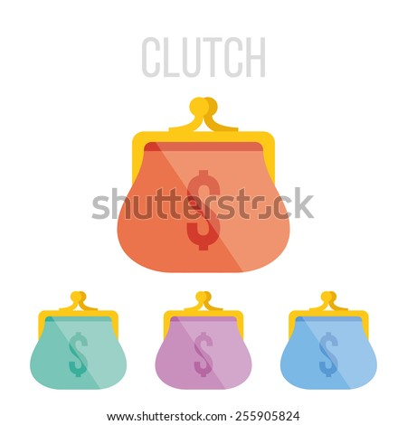 Vector clutch icons set. Isolated on white background. - stock vector