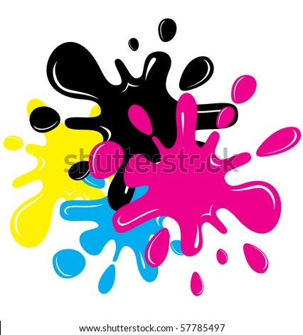 Vector CMYK Colored Cartoon inkblots - stock vector