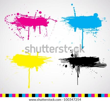 Vector CMYK ink splash banners - stock vector