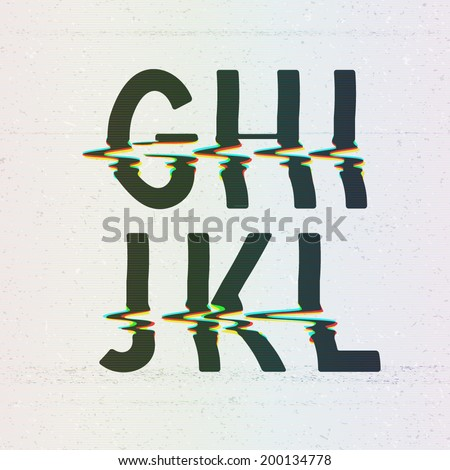 Vector CMYK Print Distortion Glitch Font from G to L - stock vector