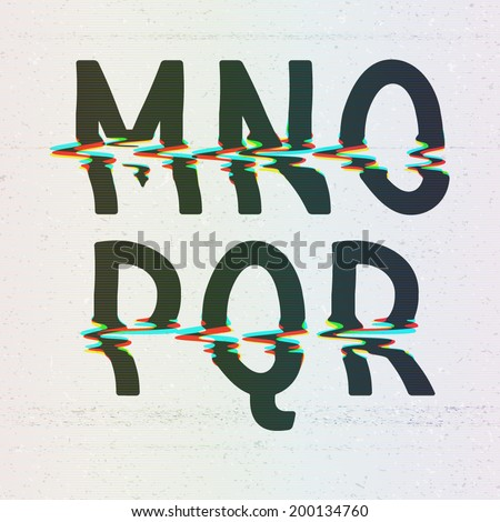 Vector CMYK Print Distortion Glitch Font from M to R - stock vector