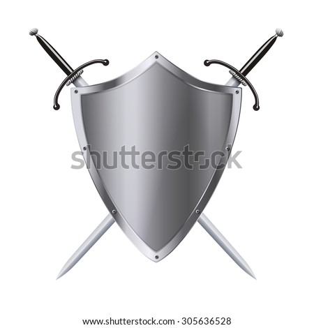 Vector coat of arms medieval knight shield and double-edged sword isolated on white background - stock vector