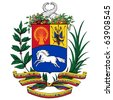 Vector coat of arms of Venezuela - stock photo