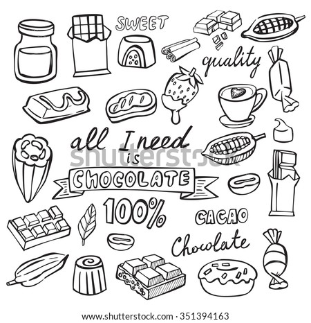 vector cocoa and chocolate icon set on white