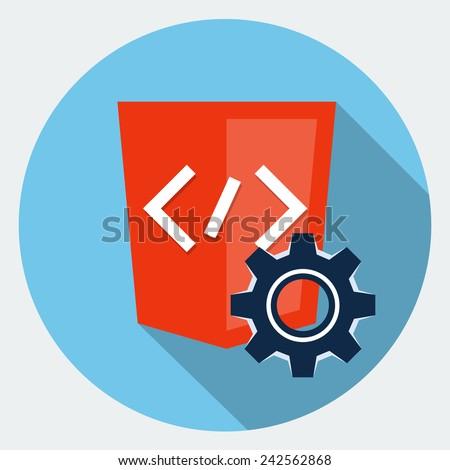 Vector code  maintenance icon - stock vector
