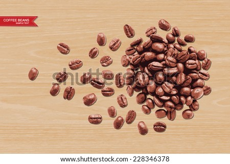 Vector coffee beans on wooden texture background. - stock vector